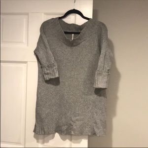 Free People | long gray sweater with 3/4 sleeves